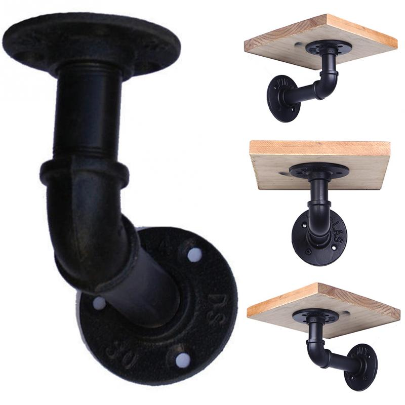 2Pcs Industrial Iron Pipe Shelf Bracket Wall Mounted Floating Shelf Hanging Hardware Decor Pipe Rack wall hanging shelf metal