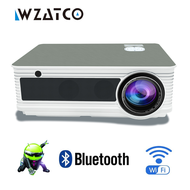 лучшая цена WZATCO CM5 Full HD LED Home Theater LCD Projector 5500 Lumens Android 7.1 WiFi Bluetooth 1080P Portable Beamer Video Proyector