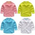 2017 primavera e no outono roupas meninos criança polo camisas de impressão do bebê da criança da longo-luva camisa menino 100% algodão casual top
