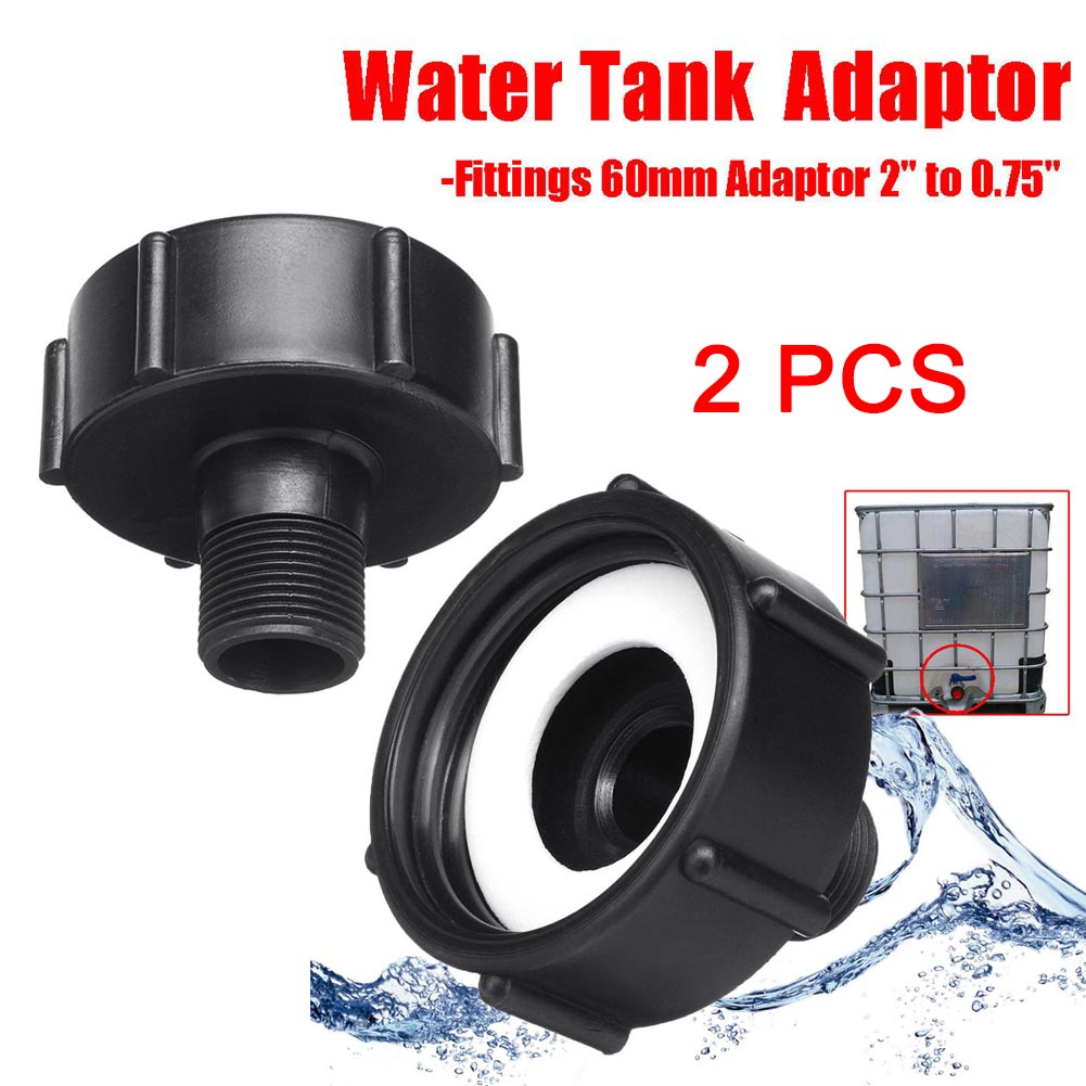 New 2Pcs 1000L IBC Water Tank Garden Hose Adapter Fitting 60mm Adaptor 0.75