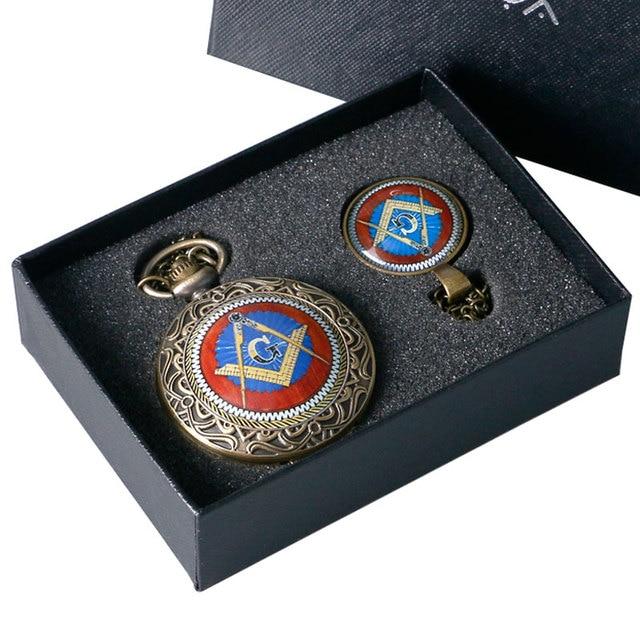 Gift Set Masonic Jewelry Freemasonry Theme Pocket Watch & Glass Dome Necklace Pendant & Gift Box