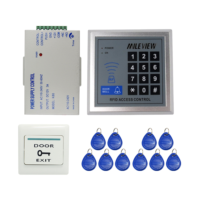 MILEVIEW Cheap! Rfid Door Access Control System + Power Supply Controller + Rfid Keypad + Exit Button IN STOCK Free Shipping brand new white rfid entry access control system kit set strike door lock rfid keypad exit button in stock free shipping page 8
