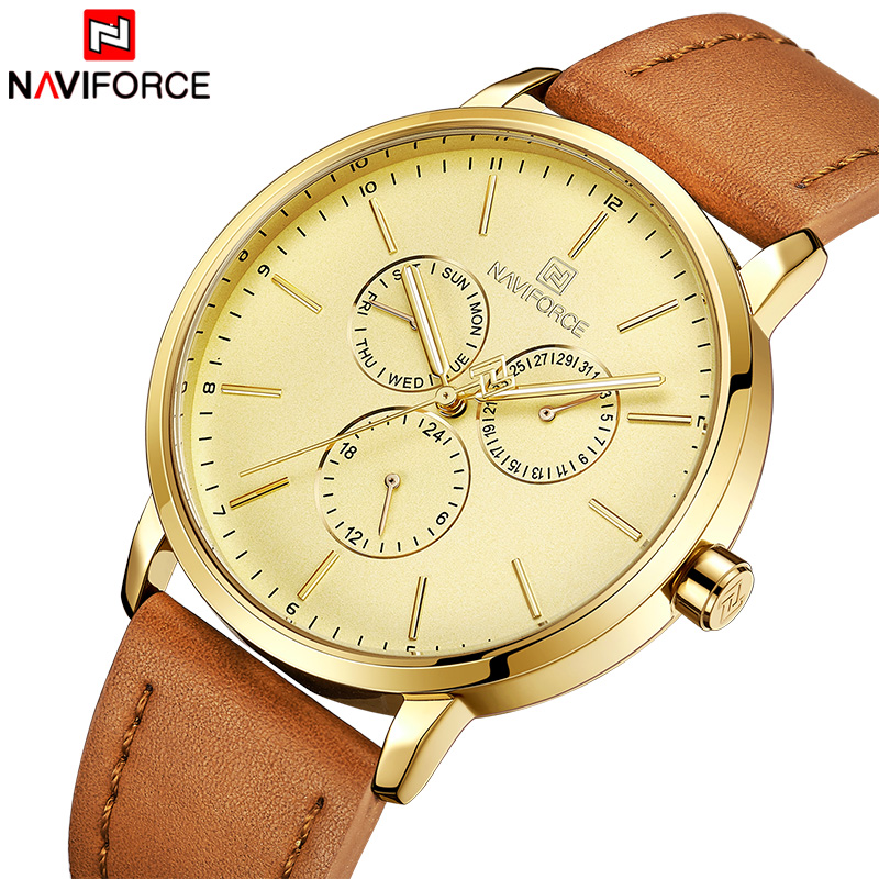 NAVIFORCE Mens Watches Top Brand Luxury Business Quartz Leather Watch Men's Date 24 Hour Army Military Analog Clock Dropshipping mike davis knight s microsoft business intelligence 24 hour trainer