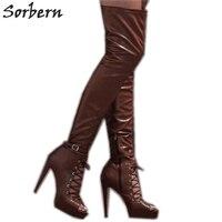 Sorbern/Коричневые Высокие сапоги до середины бедра с открытым носком, Женская матовая обувь, летняя стильная обувь на высоком каблуке, женские