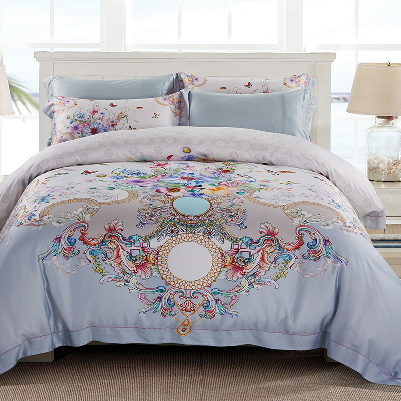 New Bedding Set Luxury Tencel Silk Ultra Soft Bed Sheet Or Fitted Sheet Queen Size King Duvet Cover Bedlinen Set Pillow Shams
