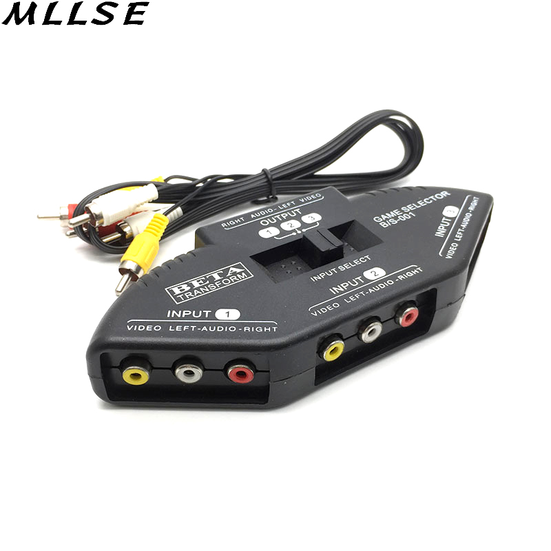 MLLSE Noir 3 En 1 Out AV RCA Commutateur Splitter RCA Audio vidéo Switcher Convertisseur pour XBOX PS3 PS2 DVD Switch Box + AV câble