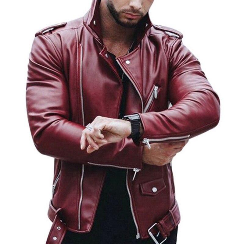 Oeak Autumn Winter Fashion Casual Zipper Leather Jacket Red Black Plus Size 2019  Motorcycle Faux Jacket Men Slim Streetwear New