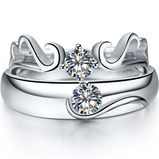 Angel Style 925 Sterling Silver Ring For Couple Synthetic Diamond