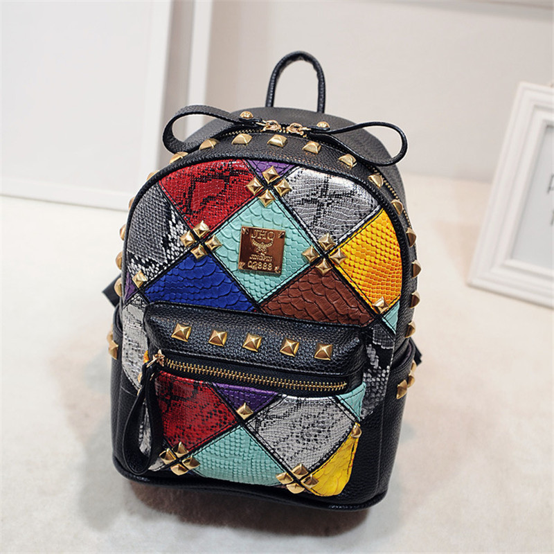 Women Backpack Hot Sale Fashion Causal bags High Quality Rivet female shoulder bag PU Leather Backpacks for Girls mochila