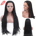 Black Braided Lace Front Wigs For Black Women Long African American Braided Wigs Heat Resistant Full Micro Braided Wigs
