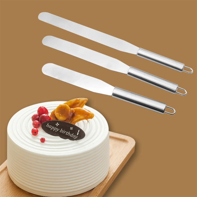 US $12.11 30% OFF|3Pcs Stainless Steel Spatula Cake Decorating Tool 6 8 10  Inch Cream Butter Spatula for Cake Smoother Tools Espatula GZTZMY SP 02-in  ...