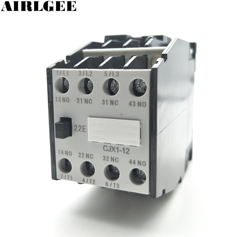 CJX1-12 AC Contactor 24V 50Hz Coil 12A 3-Phase 3-Pole 2NO + 2NC sayoon dc 12v contactor czwt150a contactor with switching phase small volume large load capacity long service life