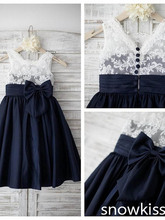 Elegant Black and white lace kid princess flower girls dresses for party and wedding toddler girl birthday prom gown with bow