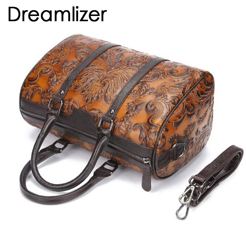 Vintage Flower Queen Women Genuine Leather Handbags Large Brand Female Designer Messenger Bags Real Leather Shoulder Bags