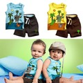 Toddlers Boy's Outfits Clothes Set Coconut Tree Pattern Sleeveless Tops+Pants 0-3Y
