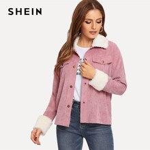 35c27ec2035be SHEIN Pink Contrast Faux Fur Detail Drop Shoulder Collar Jacket Autumn  Single Breasted Casual Elegant Women Coat Outerwear