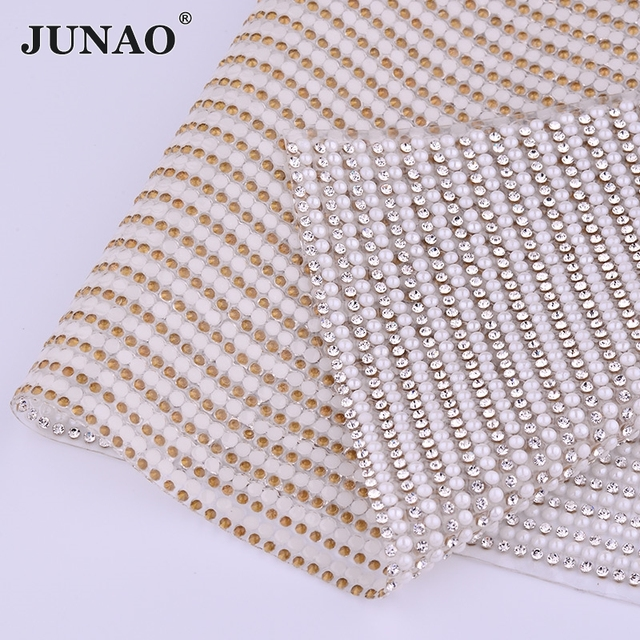 JUNAO 24 40cm Hotfix White Pearl Beads Rhinestones Fabric Trim Glass Mesh  Crystal Strass Appliques Banding for DIY Bag Dress 2a12157f37f4