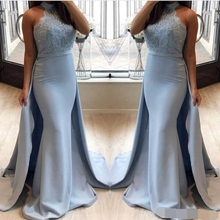 Halter Maid Of Honor Dresses Wear Lace And Satin Mermaid Bridesmaid Zipper Back robes de demoiselle dhonne