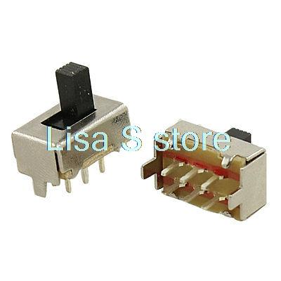5 Pcs DC 50V 0.5A 2 Position DPDT 2P2T PCB Mount Vertical Slide Switch 6 Pin DIP