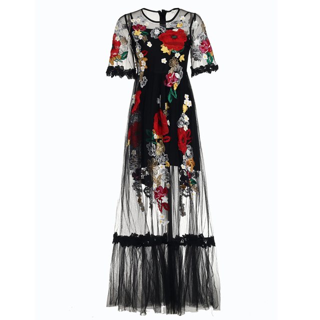 Half Sleeve Voile Lace Floral Embroidery Black Long Dress