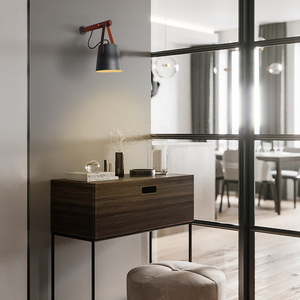 Image 3 - Aisilan Lámparas LED de pared para sala de estar, dormitorio, pared del pasillo, apliques de luz, Bombilla E27, luz de pared nórdica de madera