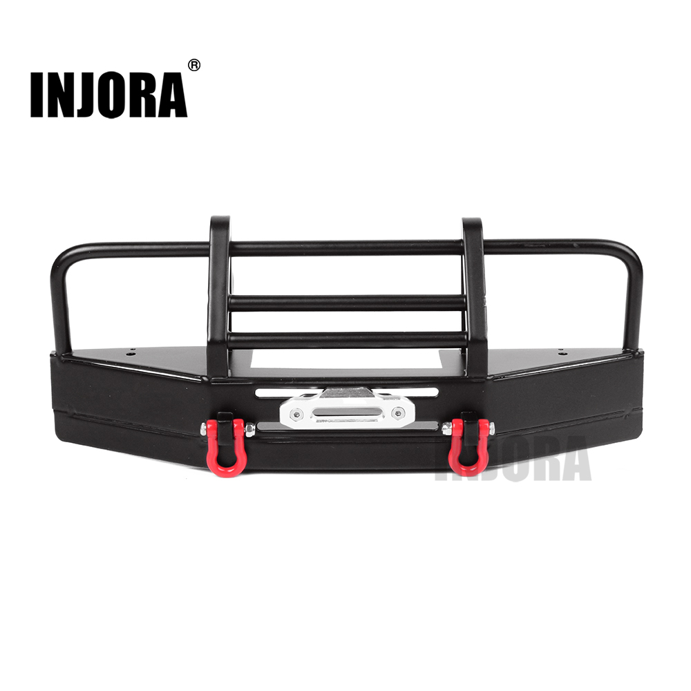 INJORA Metal Front Bumper with Tow Hook for 1/10 RC Crawler RC4WD D90 injora 4pcs red metal bumper d ring tow