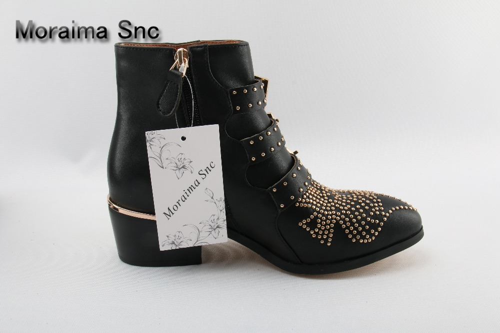 Black Leather Studded Ankle Boots For Women Gold Metal Buckle Strap Sexy Motorcycle Booties Flat Heel Women Dress Shoes Size 10 стоимость