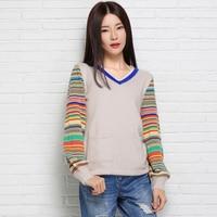 Spring And Autumn Female V Neck Roll Up Hem Sweater Lantern Sleeve Sweater Pullover Women Basic