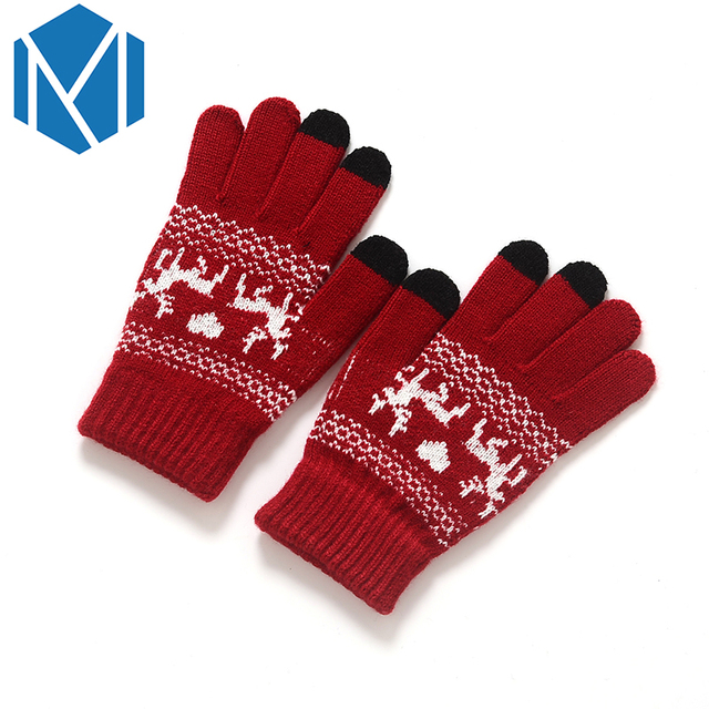 fashion women winter stretchy knitted mittens warm gloves girls crochet covered finger soft glove soft christmas - Christmas Mittens