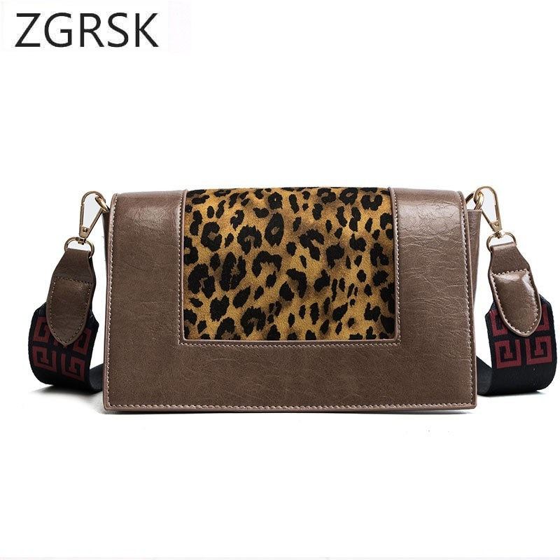 6d46bbb736 Fashion Straps Casual Crossbody Bag For Women PU Leather Leopard Girl Color  Purse Clutch Fashion Designer Messenger Shoulder Bag
