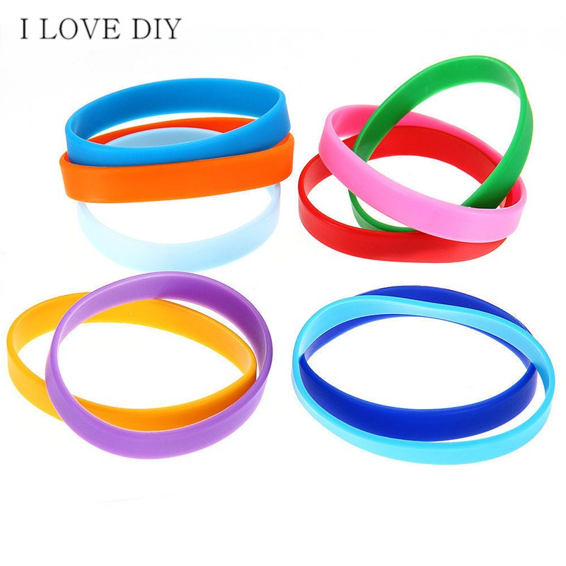 Assorted Solid Colors Silicone Wristbands Wrist Bands