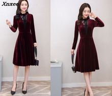 2018 Spring Winter Dresses Women Long Sleeve Vintage Burgundy Black Velvet Dress Sexy Evening Party Dresses Robe Femme Vestidos недорого