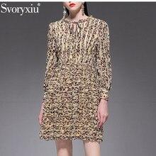 Svoryxiu בציר סקסי הדפס מנומר ארוך שרוול שמלת נשים של 2019 אופנה מעצב אביב קיץ מסיבת חג שמלות