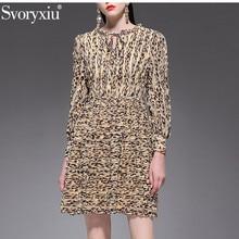 Svoryxiu Vintage Sexy Leopard Print Langarm Kleid frauen 2019 Mode Designer Frühling Sommer Urlaub Party Kleider