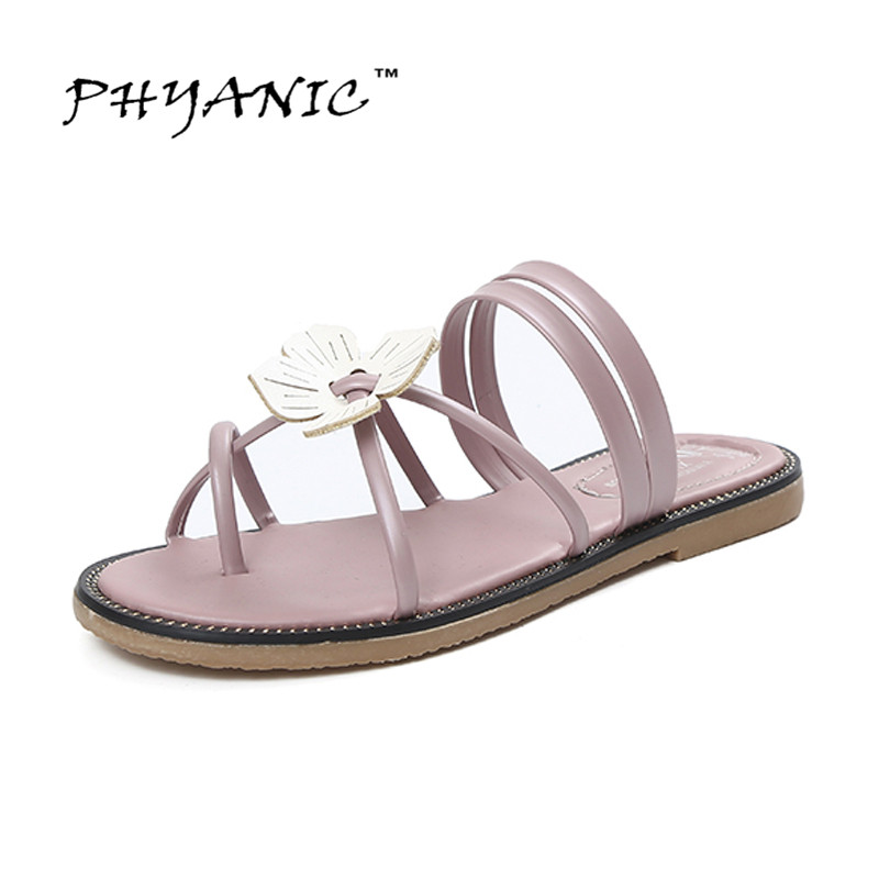 PHYANIC 2017 Summer New Beach Flip Flops Flowers Gladiator Sandals Gold Casual Flats Shoes Woman Slip On Women Shoes PHY5035 phyanic summer gladiator sandals beach platform shoes woman wedges sandals slip on flats creepers casual women shoes phy3337