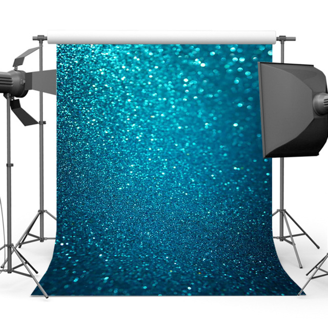 Mehofoto Blue Glitter Background for Photography Bokeh Sparkly Backdrop for Picture Photo Studio MR-1858