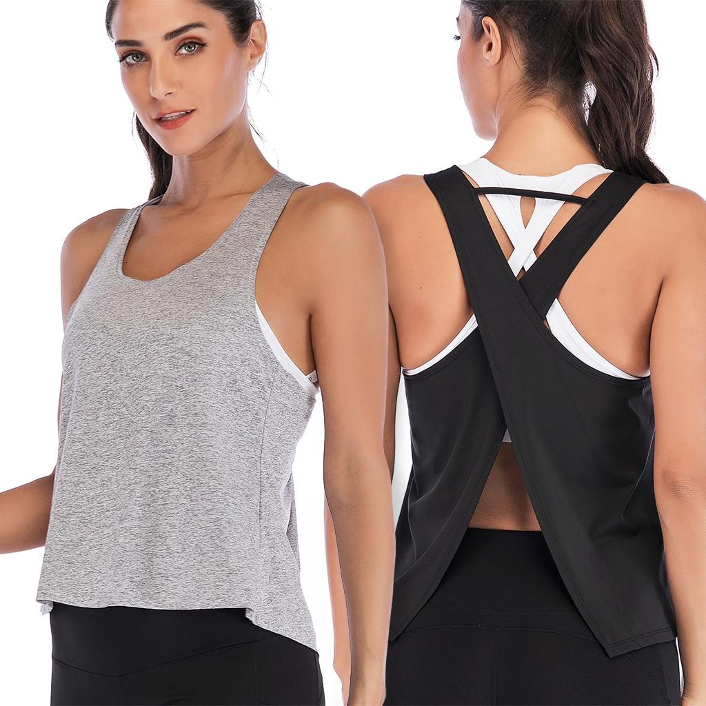 Women's Cross Back Yoga Shirt Sleeveless Racerback Workout Active Tank Top Gym Sports Vest Sleeveless Shirt Fitness