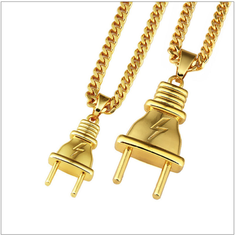 New Iced out Hip Hop Heavy Gold Cover Plug Lightning Men Rocker Cuban Pendant Necklace Cool Chain Birthday Gift Couple Jewelry