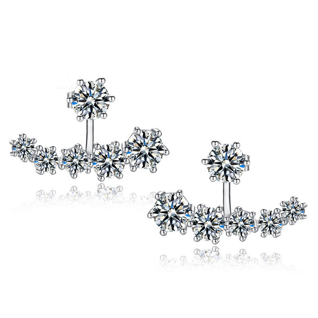 PATICO Fashion 925 Sterling Silver Shiny Cubic Zirconia Crystal Beads Neckband Stud Earrings for Women Wedding Bijoux Brincos