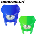 Ironwalls Motorcycle Blue/Green Durable ABS Plastic Shell Headlight Fairing Kit For Dirt Bike StreetFighter Naked Motorcycle