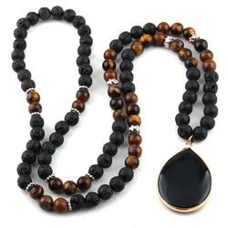 Fashion Black Lava &Tiger Eye Stones Bohemian Tribal Jewelry Drop Pendant Necklaces Women Ethnic Necklace
