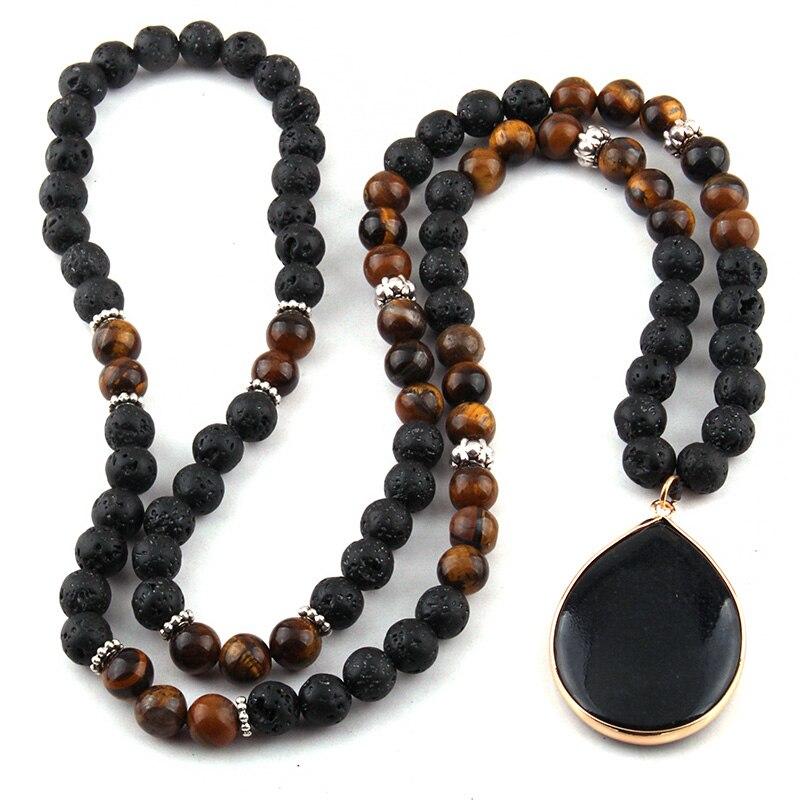Moda nero Lava & Tiger Eye Stones gioielli tribali bohémien collane con pendente a goccia collana etnica da donna
