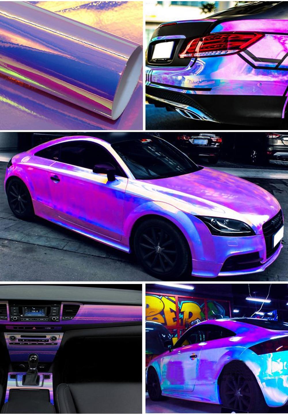 10 см x 100 см голографические радужные хромированные автомобильные наклейки с лазерным напылением, виниловая пленка для кузова, для самостоятельной сборки автомобилей