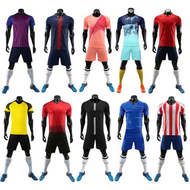 2019 nuevos Jerseys de fútbol para niños y adultos 100% uniformes de fútbol de poliéster para entrenamiento ropa transpirable conjunto de camisetas de talla grande personalizadas