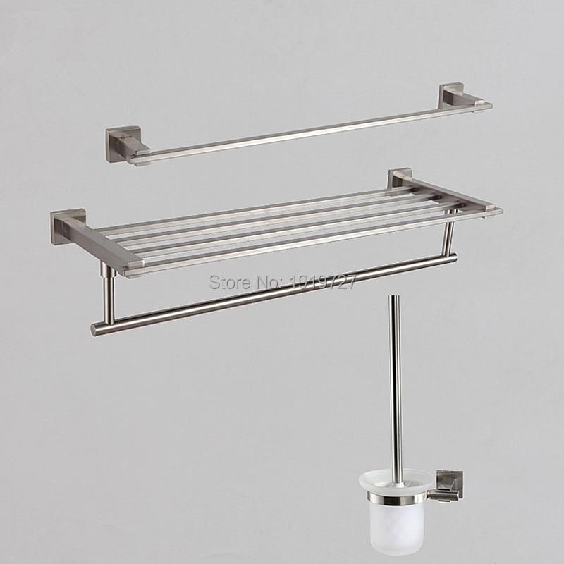 2016 New Arrival Wholesale Modern Stainless Steel Brushed 3pcs Bathroom Accessories Set Towel Bar Towel Rack Toilet Brush Holder