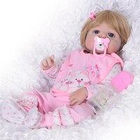 Wear Pink Bib Reborn Baby Girl Doll Full Silicone Body Realistic Lifelike Reborn Babies 23 Inch