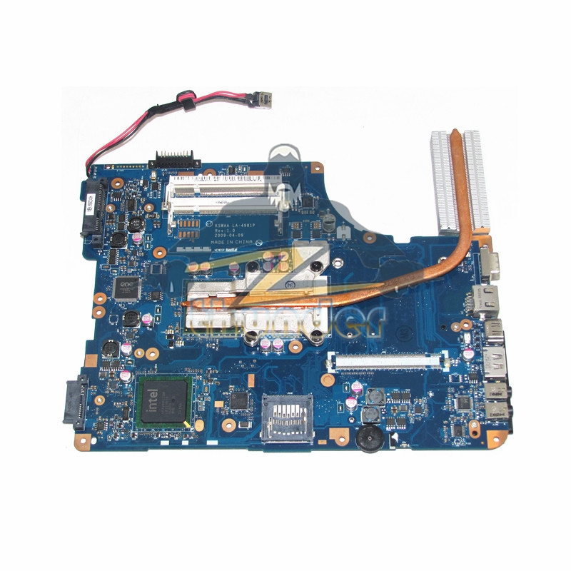 LA-4981P for toshiba satellite L550 laptop motherboard GL40 without Graphics slot with heatsink cpu k000085460 motherboard for toshiba satellite l450 l455 gl40 la 5821p