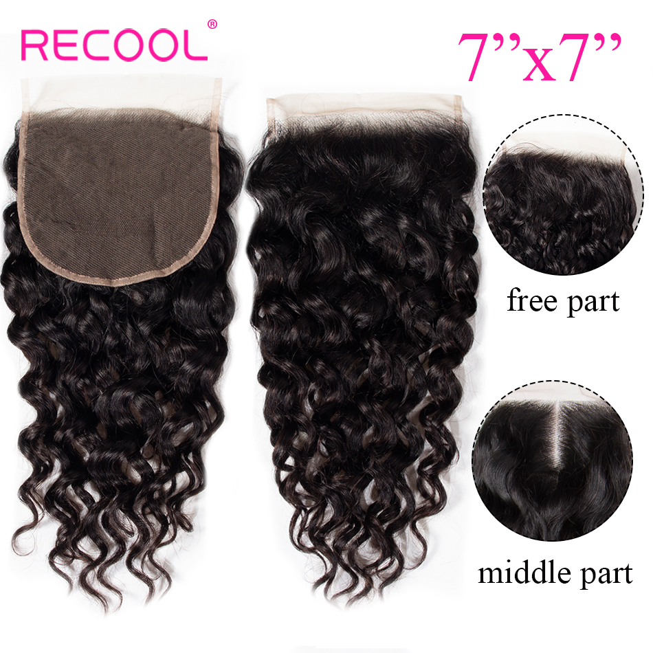 Recool Hair Brazilian Water Wave 7x7 Lace Closure Pre Plucked With Baby Hair 10 22 inch