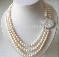 Genuine 3 linhas 7 8 MM freshwater pearl necklace Cameo clasp