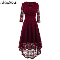 Kostlich 2017 Women Autumn Dress V Neck 3 4 Sleeve Lace Hollow Sexy Evening Party Dresses